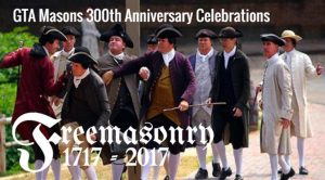 poster for 300th anniversary of modern freemasonry